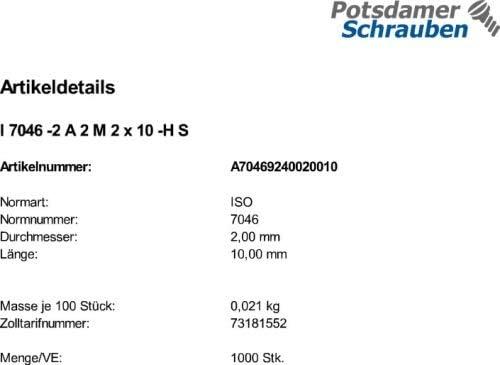 Senkkopfschrauben ISO 7046-2 A2 H M2x10 1000 Edelstahl V2A Krz