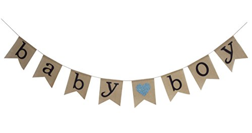 Seasons Treasure 9ft Handmade Baby Shower Burlap Banner,Hessian Bunting Banners Party Decoration (Boy - Bunting Baby Handmade