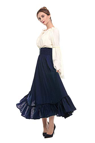 1bae5f814a7d Amazon.com: ROLECOS Womens Renaissance Medieval Costume Trumpet Sleeve  Peasant Shirt and Skirt: Clothing