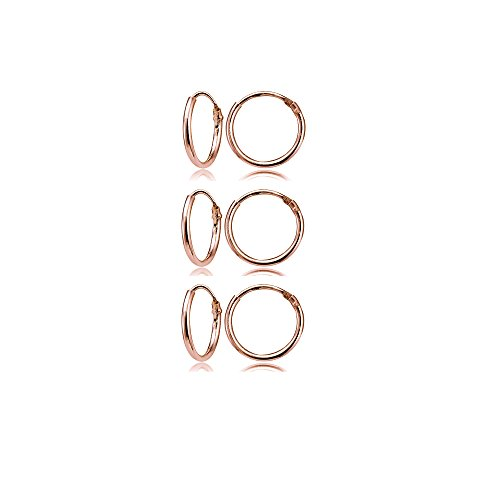 (Rose Gold Flashed Sterling Silver Small Endless 10mm Round Unisex Hoop Earrings, Set of 3 Pairs)