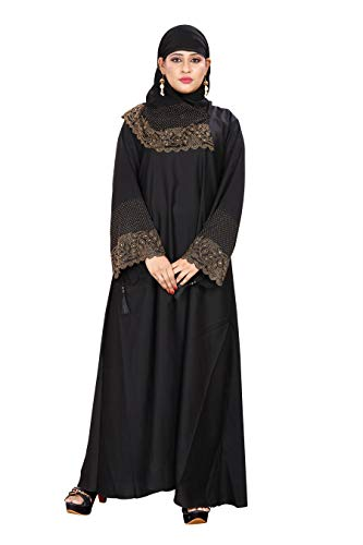 ZEENAT FAB Women's Abaya Simple Burqa (ZB1013 GOLD, Black, Large)