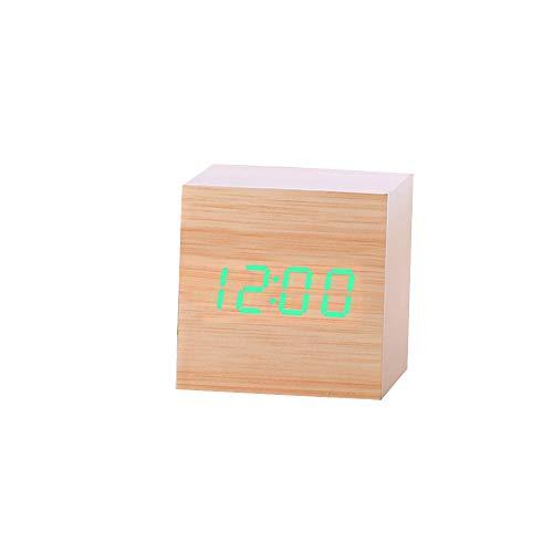 Hope Creative Home Office Modern Wooden Silent Night Bell, Digital Light Desk Alarm Clock Thermometer Timer Calendar