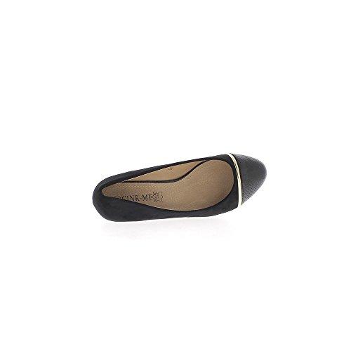 Escarpins grande taille noirs talon compensé de 5,5cm aspect daim
