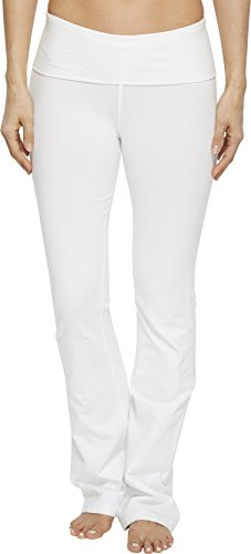 Hard Tail Women's Rolldown Bootleg Flare Pants White Medium - Bootleg Down Roll