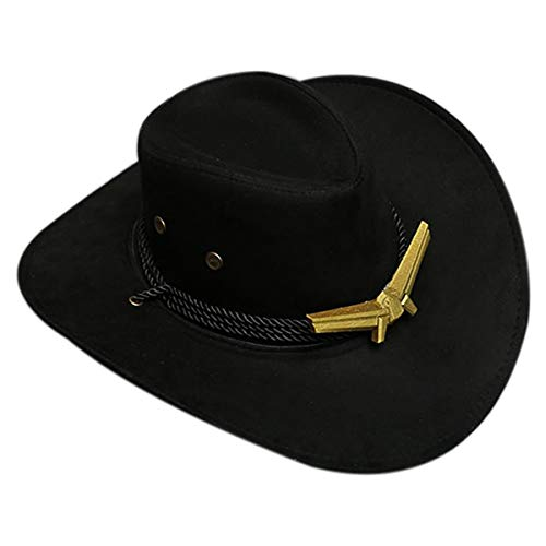 Gangster Halloween Costumes 2019 (OW Ashe Western Cowboy Hat Suede Fabric Gangster Hat,Cosplay Costume Accessories Game Anime Props Outdoor Fedora Wide Brim Cap with)