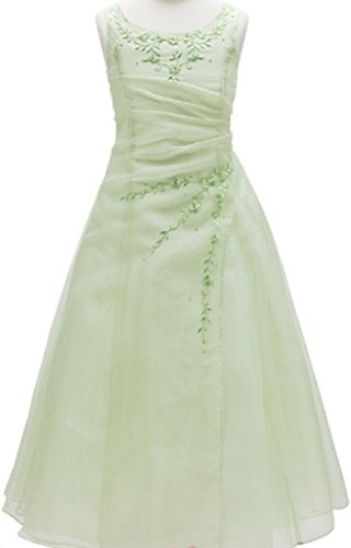 AkiDress Floral Embroidered Sleeveless A-Line Organza Elegant Flower Girl Dress Sage 4-16 (Sage Chiffon Dress Floral)