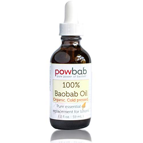 powbab 100% Baobab Oil Cold Pressed, Raw Essential Organic Moisturizer or Lotion from Baobab Seed for Skin Face Body. Excellent as Natural Hair Conditioner - 2 oz. bottle