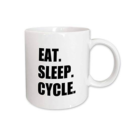 3dRose 180393_1 Eat Sleep Passionate About Cycling-Bicycle Enthusiast Gifts Ceramic Mug, 11 oz, White
