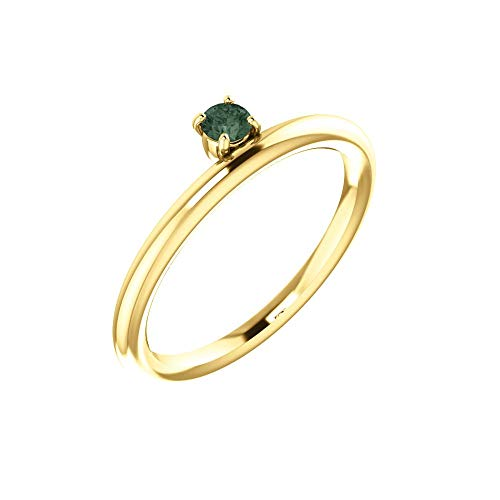Bonyak Jewelry Lab-Created Alexandrite 14k Yellow Gold Chatham Created Alexandrite Ring - Size - Chatham Alexandrite Ring Gold