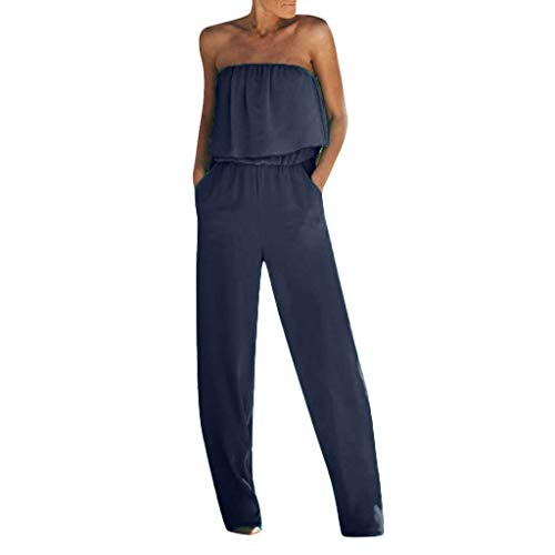 Aniywn Jumpsuits for Women, Ladies Summer Sleeveless Backless Loose Long Rompers Strapless Beach Wide Playsuits Navy
