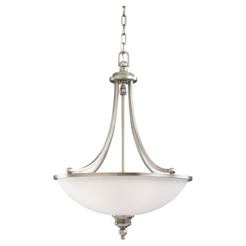 Sea Gull Lighting 65351-965 Three-Light Laurel Leaf Pendant, Satin Etched Glass Shade, Antique Brushed Nickel Laurel Pendant Lighting