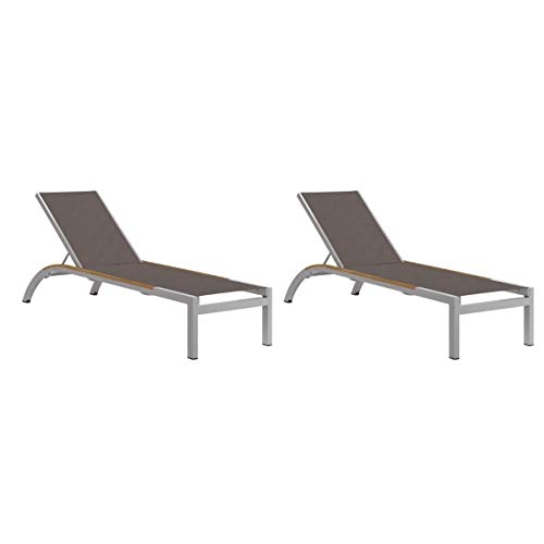 (Oxford Garden Argento Armless Chaise Lounge with Tekwood Natural Side Rails - Cocoa Sling (Set of 2) )