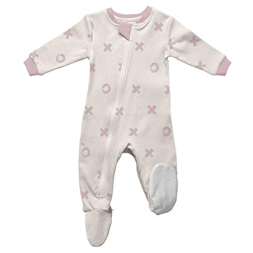 ZippyJamz Organic Baby Footed PJs w/Inseam Zipper - Blushing Kisses (3-6 Mos) (A Girl Kiss A Girl Without Dress)