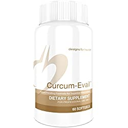 Designs for Health - Curcum-Evail, Curcumin, Bisdemethoxy Curcumin and Demethoxy Curcumin in Turmeric Oil, 60 Softgels