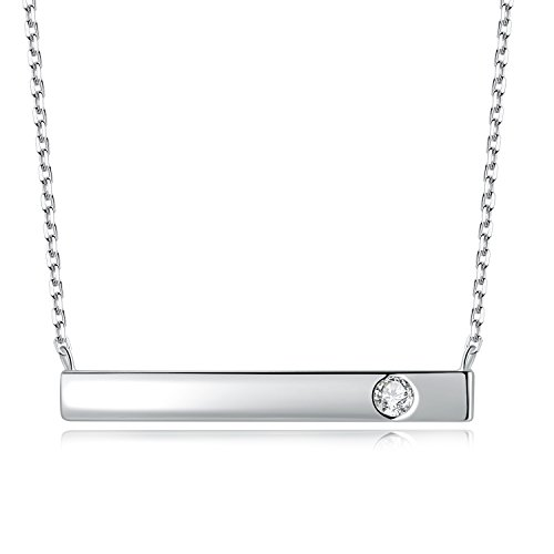OKI-NI Sterling Silver Necklace with Engravable Personalized Bar Necklace Swarovski Crystals Chain 17.7