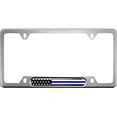 USA Patriotic Anodized Aluminum Thin Top | Narrow Top Car License Plate Frame with US American Flag |Thin Blue Line Insert with Free caps - Silver: Automotive