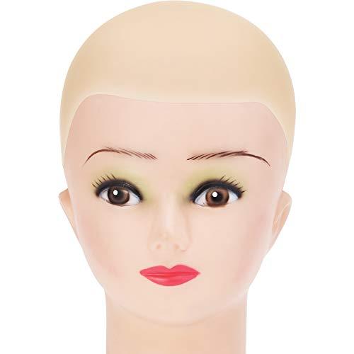 Gorro de Calva de Latex para Adultos Cabeza de Calva de Maquillaje Peluca de Calvo Accesorios de Disfraz Beige, Talla Pequena