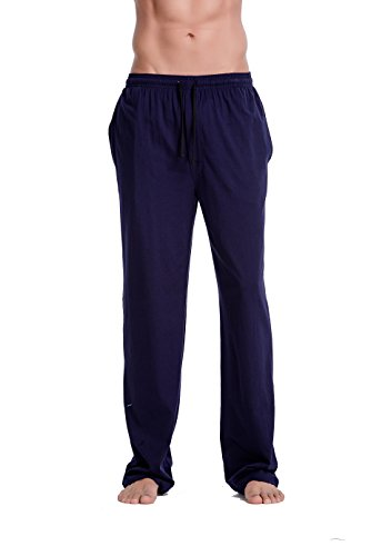 CYZ Men's 100% Cotton Super Soft Flannel Plaid Pajama Pants-Navy-M