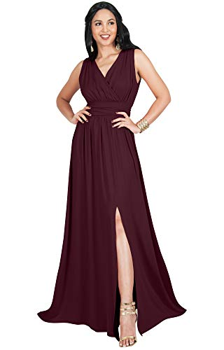 KOH KOH Plus Size Womens Long Bridesmaid Wedding Guest Cocktail Party Sexy Sleeveless Summer V-Neck Evening Slit Day Full Floor Length Gown Gowns Maxi Dress Dresses, Maroon Wine Red 3XL 22-24