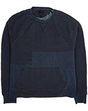 Mens Blue Distressed Crew Neck Sweater