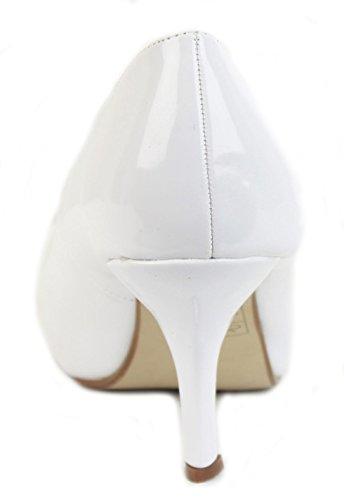 8 Mid Patent Pumps Womens Größe Brautjungfer Büro shoegeeks Schuhe Braut High Kitten Weiß Casual Gericht 3 Smart Stiletto Heels Work Damen Low wfxwn0qHF1