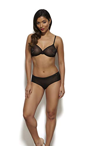 - Lingerie Set for Women Glossies Black Bra Thong Shorts Imported Luxury (Thong, M)