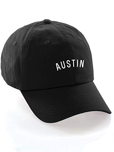 (Daxton USA Cities Baseball Dad Hat Cap Cotton Unstructure Low Profile Strapback - Austin Black White)