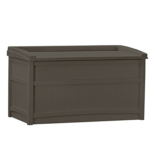 Suncast 50 Gallon Deck Storage Box with Seat -Waterproof Outdoor Storage Container for Gardening Tools, Athletic Equipment and More – Store Items on Deck, Patio, Yard – Java