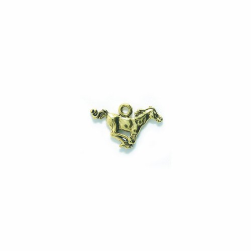 (Shipwreck Beads Pewter Horse Charm, Antique Gold, 18 by 28mm, 2-Piece)
