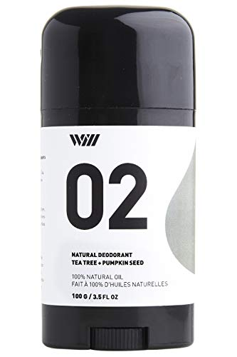 (Way Of Will 02 Natural Deodorant under arm stick aluminium free, infused with essential oils, 100% natural for men and women 75g /2.65 OZ (Tea Tree + Pumpkin Seed))