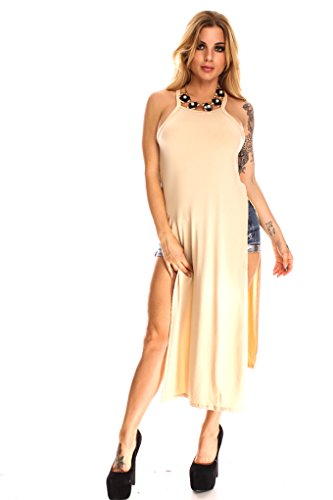 Young Aloud SIDE SLIT RACER BACK LONG CASUAL TOP M nude