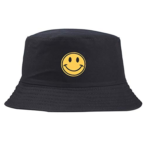 Floralby Smiley Face Embroidered Bucket Hat Men Women Foldable Sun Hat Outdoor Cap UV Protection Black