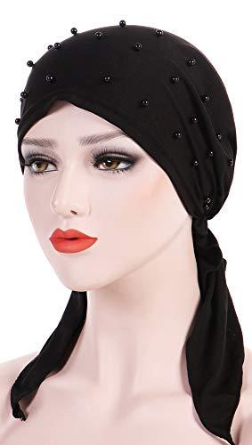 Ababalaya Women's Soft Breathable Pre-Tied Beads Solid Chemo Bandana Muslim Turban Tichel,Black+White+Gray by Ababalaya (Image #3)