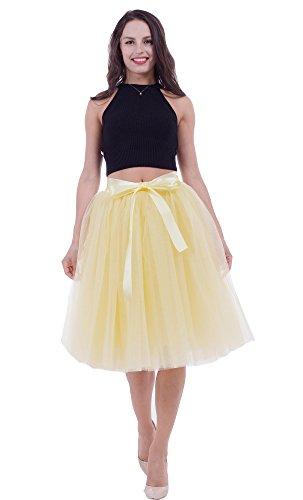 SCFL Jupe Tutu Femme Jupe Midi Tulle 7 Layers Petticoat Underkirt avec ceinture lastique pour fte de mariage Gelb