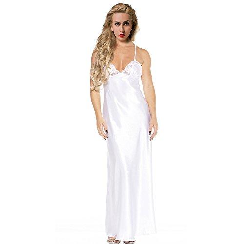 ETAOLINE Women's Sexy Lace Satin Sleepwear Full Length Slip Lingerie Plus Size,White,XX-Large
