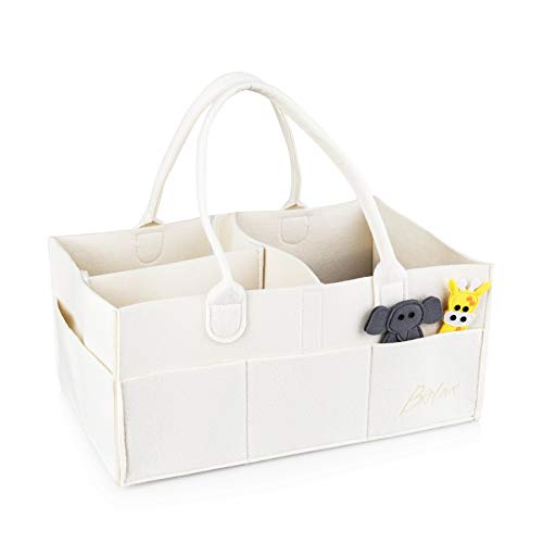 Baby Diaper Storage Caddy Organizer: Changing Table and Nursery Bag for Diapers by Brelax