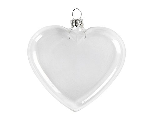 6 Clear 90mm Glass Flat Heart Shaped Christmas Bauble Ornaments