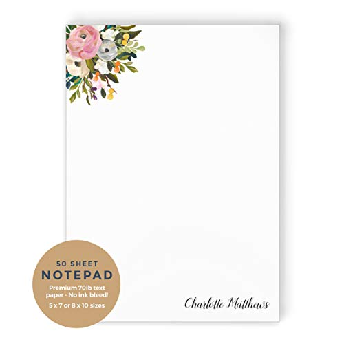 AMELIA FLORALS I NOTEPAD - Personalized Womens Blush and Blue Pretty Painted Wedding Flowers Stationery/Stationary Memo Note Pad