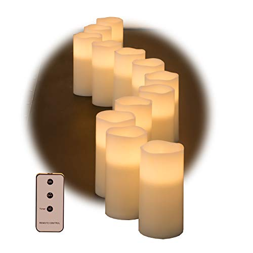 Set of Ivory Wax Remote Controlled Candles with Remote and Batteries (Ivory, 12pk) - Molded Pillar Candles