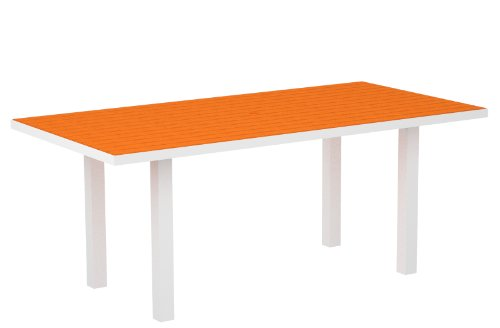 POLYWOOD AT3672-13TA Euro 36 x 72 Dining Table, Satin White Tangerine