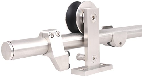 TMS 6 Ft 7 Inch Modern Stainless Steel Interior Sliding Barn Wooden Door Hardware Track Set by TMS