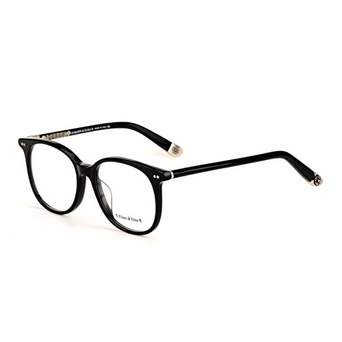 Eileen&Elisa Vinatge Oval Fashion Glasses Frame For Women Retro Optical Glasses with Case (Black Silver, 52) (Glasses Vinatge)
