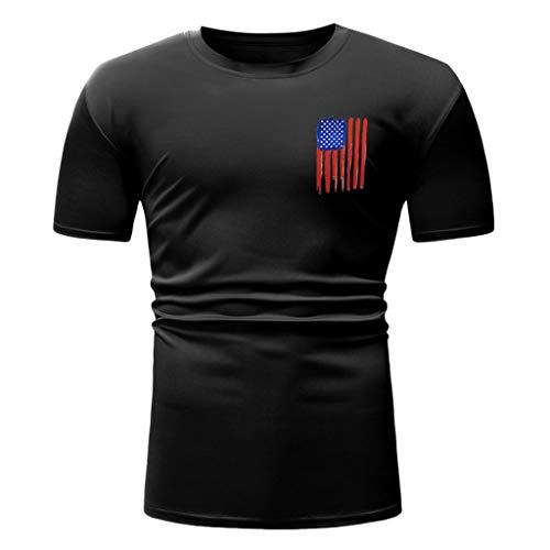 USA litary American Skull Flag Patriotic Men's T Shirt Short Sve Slim Fit O-Neck Tees Tops Blouses