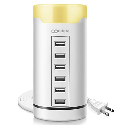 for Multiple Devices,Cofuture USB Charging Station with Touch Sensor Control Night Lamp, Use as iPhone Charging Station and Other USB-Charged Devices Charging Station,White ()
