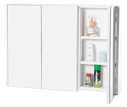 Basicwise QI003456 3 Shelves White Wall Mounted Bathroom/Powder Room Mirrored Door Vanity -