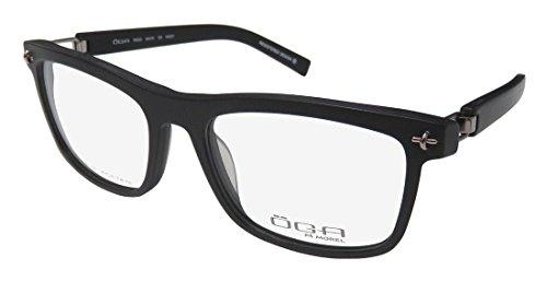 Oga 7950o Mens Designer Full-rim Flexible Hinges Eyeglasses/Eyewear (54-18-125, Matte Black Pattern/Silver) (New Fashion Brillen Frames)