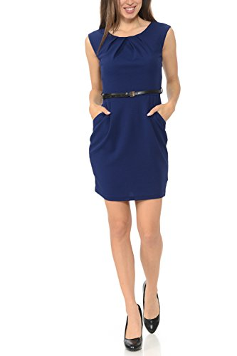 Auliné Collection Women's Color Office Workwear Sleeveless Sheath Dress Navy Blue Large (Womens Sheath)