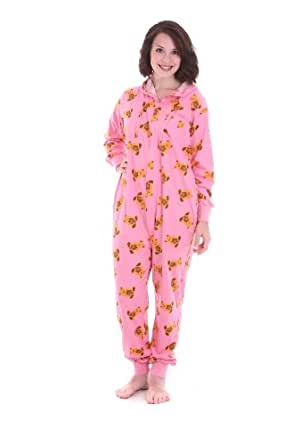 Funzee Adult Onesie non Footed Pajamas Cute Teddy Bears on Pink Jumpsuit (Medium)