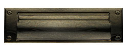 Baldwin 0015.050 Open Magazine Size Letter Box Plate, Satin Brass and Black