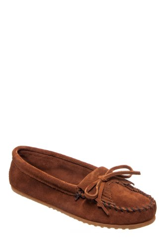 Minnetonka Shoes Womens Kilty Hardsole Moccasin Suede 7 Brown (Suede Hardsole Moccasins)